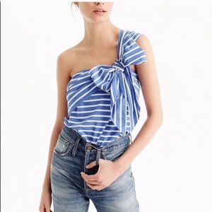 J. Crew One-Shoulder Bow Top In Stripe